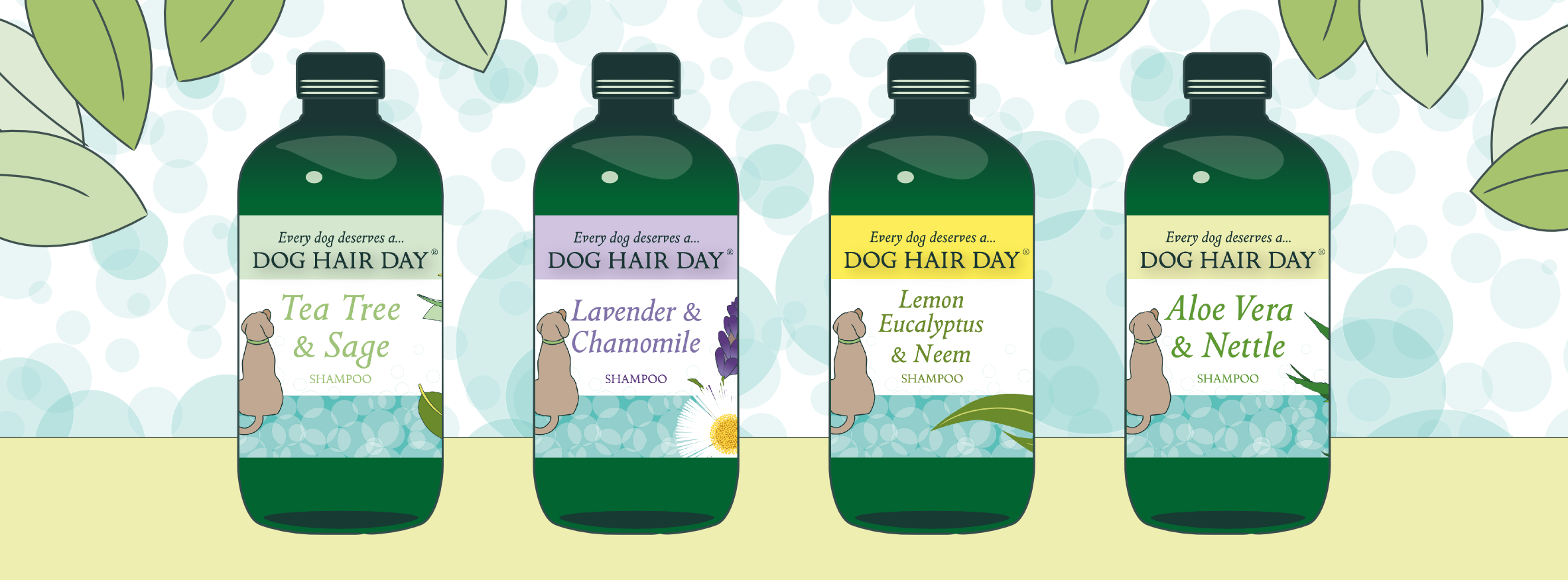 Aloe Vera & Nettle, Lavender & Chamomile, Tea Tree & Sage Dog Hair Day shampoos