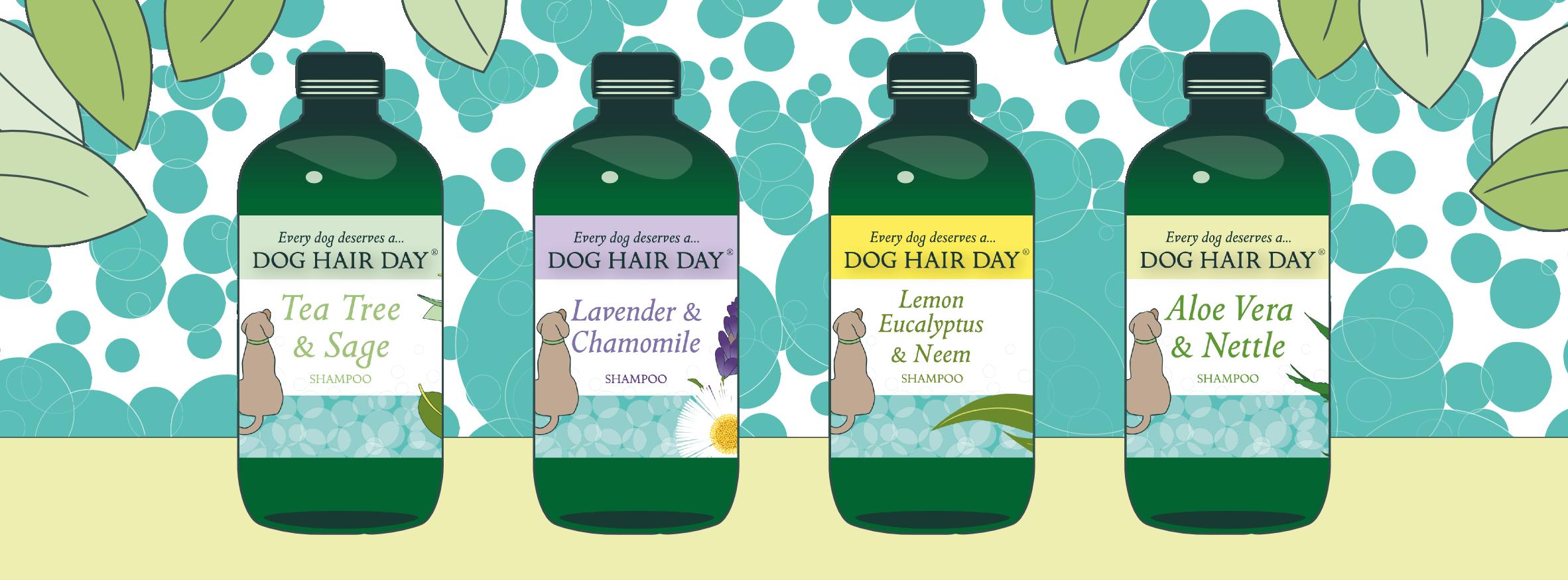 Aloe Vera & Nettle, Lavender & Chamomile, Tea Tree & Sage Dog Hair Day shampoos